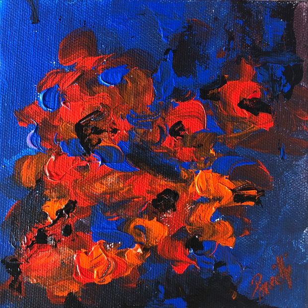 Caring 4 by Preethi Arts- 6x6 - Original Contemporary Modern Abstract Paintings by Preethi Arts
