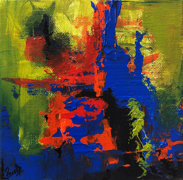 Caring 6 by Preethi Arts- 6x6 - Original Contemporary Modern Abstract Paintings by Preethi Arts
