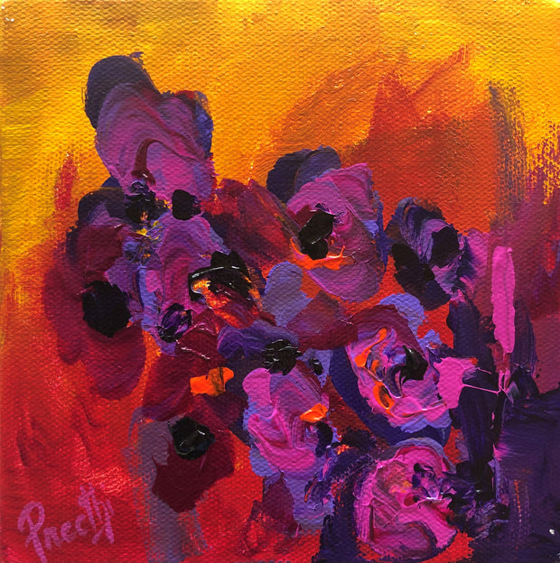 Compassion 1 by Preethi Arts- 6x6 - Original Contemporary Modern Abstract Paintings by Preethi Arts