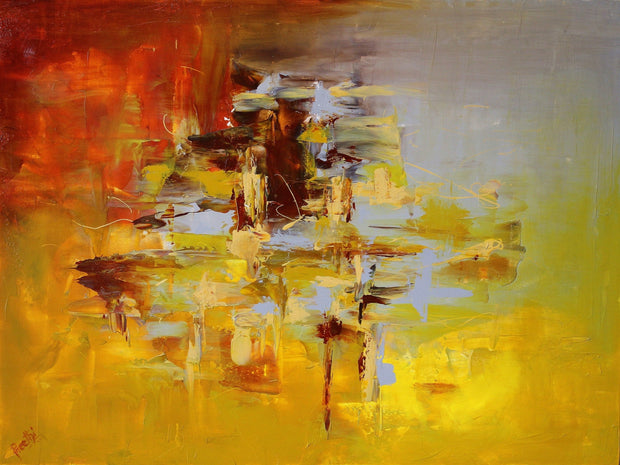 Goldmix by Preethi Arts- 30x40 - Original Contemporary Modern Abstract Paintings by Preethi Arts