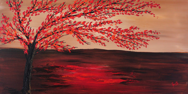 Growing down the water by Preethi Arts- 24x48 - Original Contemporary Modern Abstract Paintings by Preethi Arts