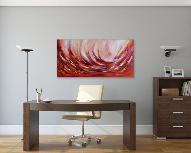 Wild cherry by Preethi Arts- 24x48 - Original Contemporary Modern Abstract Paintings by Preethi Arts