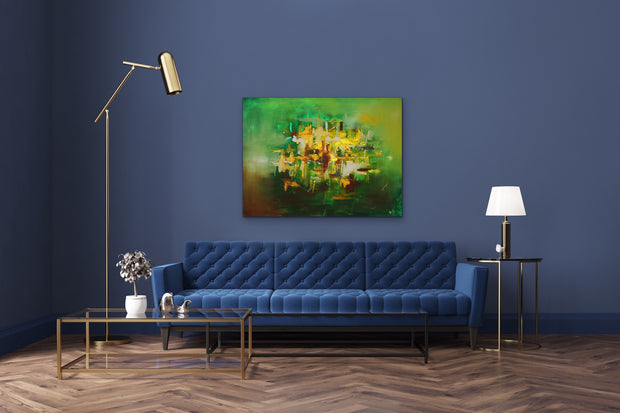 Emerald by Preethi Arts- 30x40 - Original Contemporary Modern Abstract Paintings by Preethi Arts