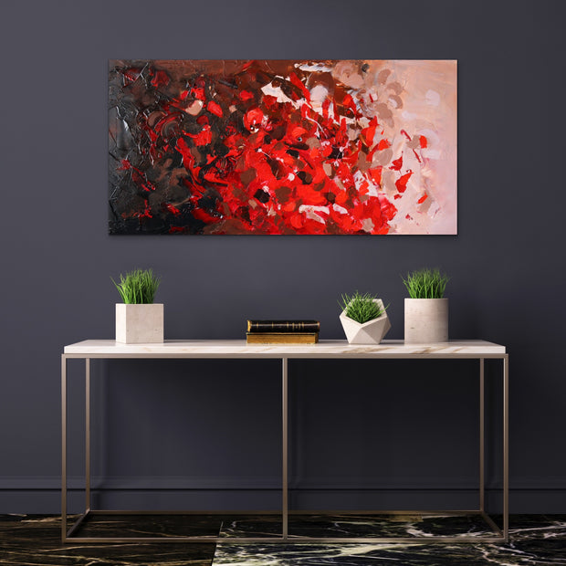 Red Coral by Preethi Arts- 24x48 - Original Contemporary Modern Abstract Paintings by Preethi Arts