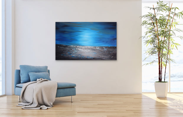 Mystic blue by Preethi Arts- 48x30 - Original Contemporary Modern Abstract Paintings by Preethi Arts