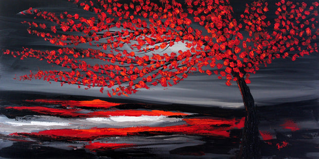 Red tree by Preethi Arts- 24x48 - Original Contemporary Modern Abstract Paintings by Preethi Arts
