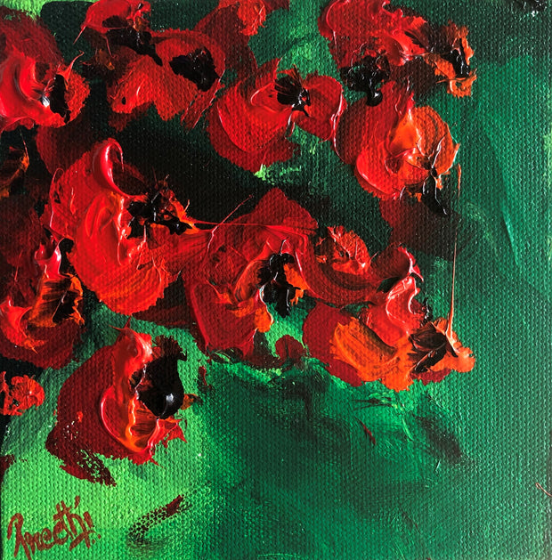 Romance 3 by Preethi Arts- 6x6 - Original Contemporary Modern Abstract Paintings by Preethi Arts