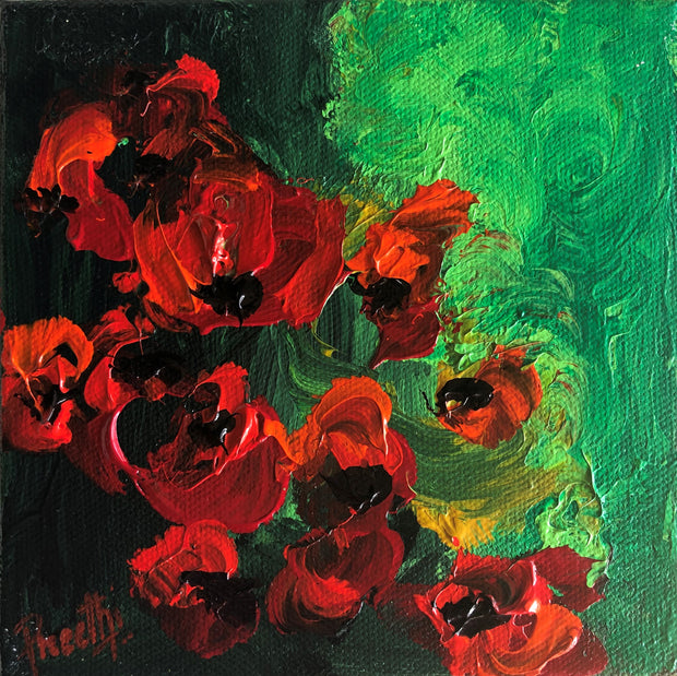 Romance 6 by Preethi Arts- 6x6 - Original Contemporary Modern Abstract Paintings by Preethi Arts