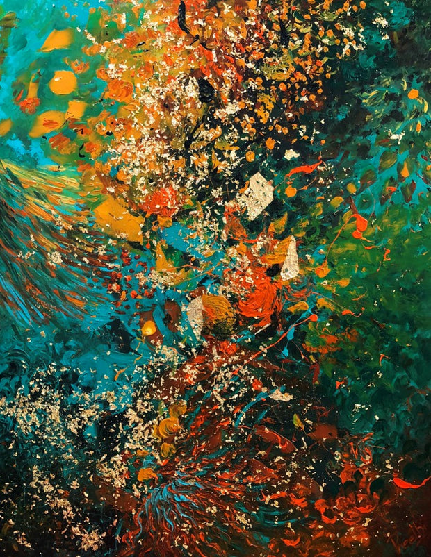 Shimmering Moment by Preethi Arts- 60x48 - Original Contemporary Modern Abstract Paintings by Preethi Arts