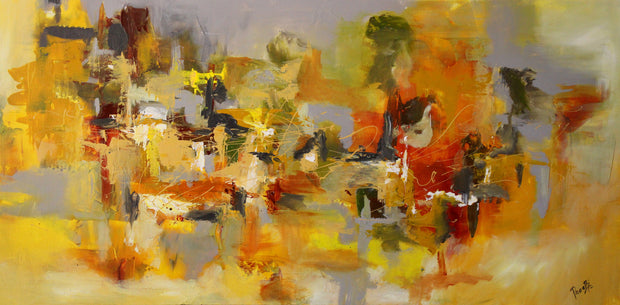 Yellow Sapphire by Preethi Arts- 24x48 - Original Contemporary Modern Abstract Paintings by Preethi Arts