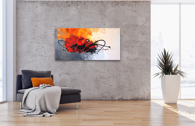Ladybug by Preethi Arts- 24x48 - Original Contemporary Modern Abstract Paintings by Preethi Arts