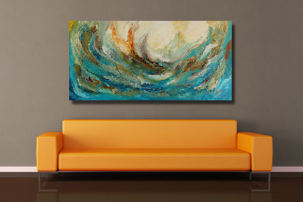 Tsunami by Preethi Arts- 24x48 - Original Contemporary Modern Abstract Paintings by Preethi Arts