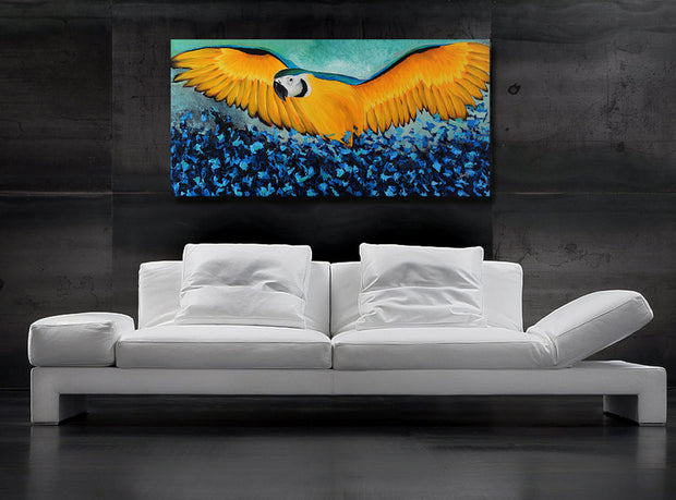 Yellow macaw by Preethi Arts- 24x48 - Original Contemporary Modern Abstract Paintings by Preethi Arts