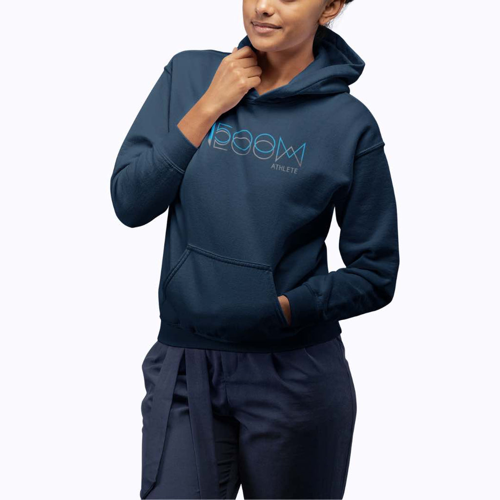 Distance running Hoodie mockup with a beautiful black women in front of a plain background