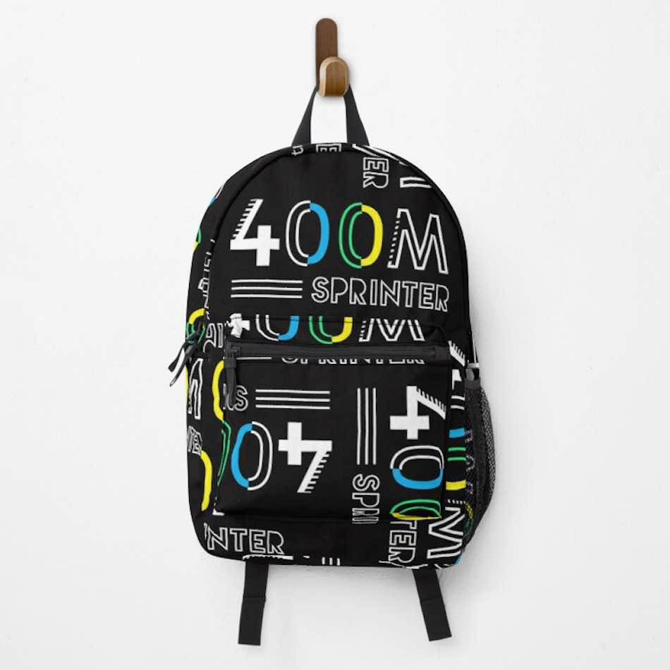 Track and field backpack with a 400 meter design hanging on a peg