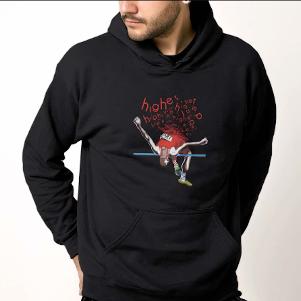 Man wearing Illustrated mens high jump hoodie in black on a white background