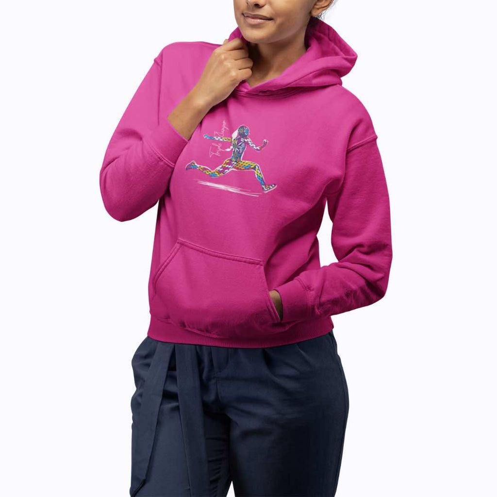 2nd phase triple jump illustration on a pink hoodie
