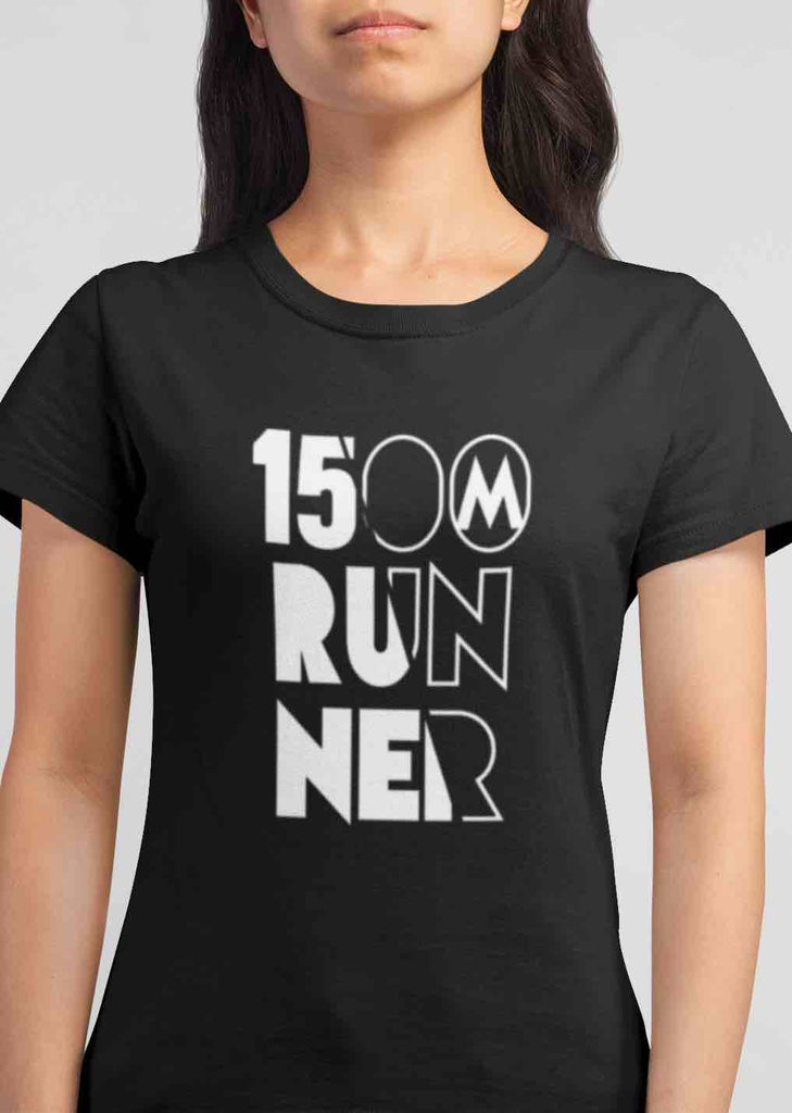 Black womens 1500m Tshirt