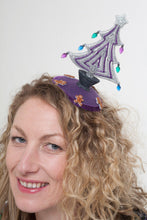 Christmas Tree Fascinator in Silver and Purple.
