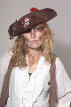 Pirate Tricorn Hat with Feather and Patch.