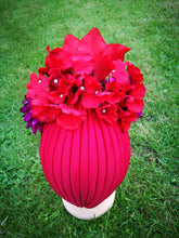 Carmen Miranda Turban in Red and Purple.