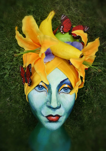 Yellow Tropical Carmen Miranda Turban.
