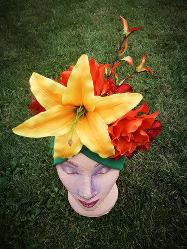 Carmen Miranda Asymetric Turban in Yellow and Orange.