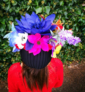Carmen Miranda Floral Turban on Black.