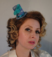 Blue Butterfly Mini Top Hat Fascinator.