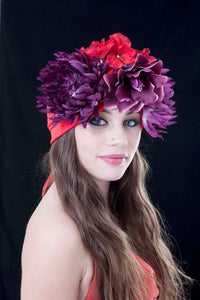 Purple and Red Carmen Miranda Turban.