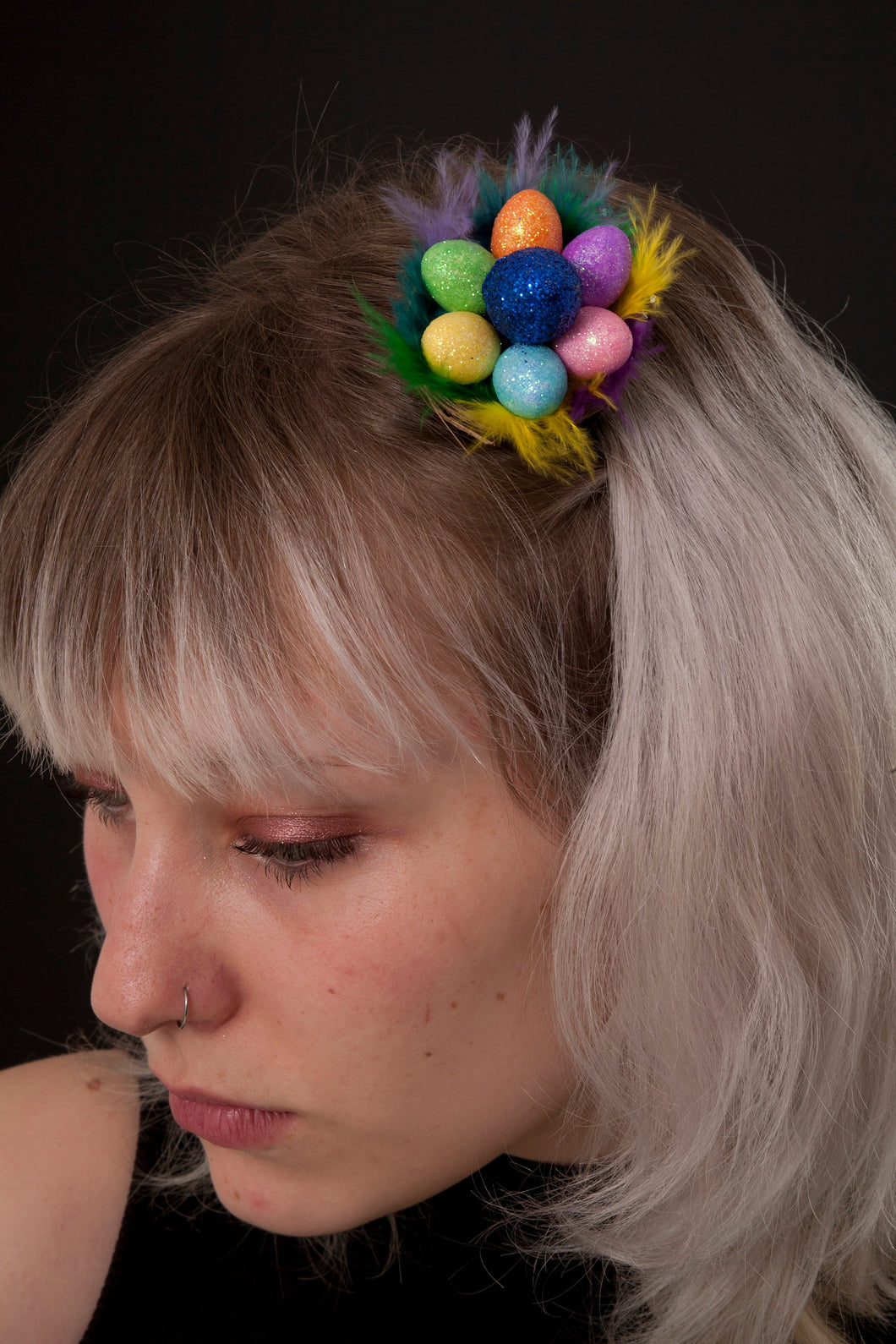 Rainbow Easter Egg in a Nest Mini Fascinator.