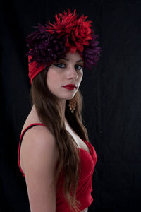 Exotic Red and Purple Flower Turban.