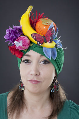 Mardi Gras Flower and Fruit Turban on Green.