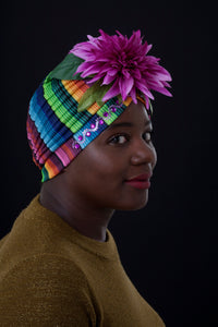Rainbow Patterned Floral Turban.