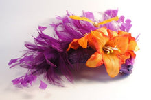 Orange and Purple Tropical Fascinator.