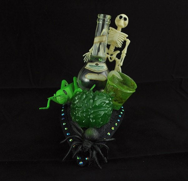 Zombie Halloween Fascinator, Skeleton and spider headpiece, Spooky hat, Halloween fancy dress, Brain fascinator, zombie headddress