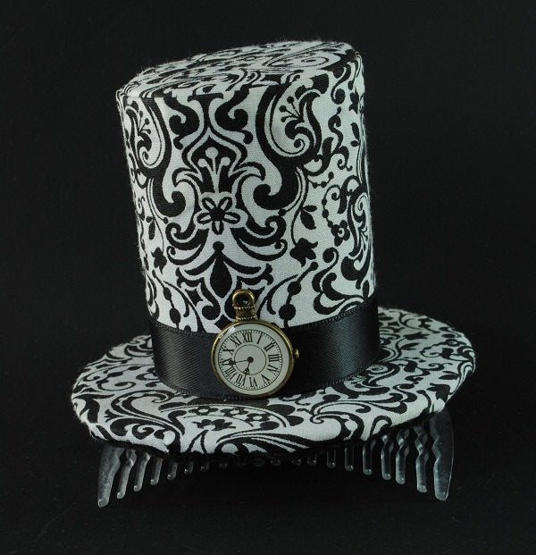 Alice in Wonderland Mini Top Hat Fascinator in Black & White.