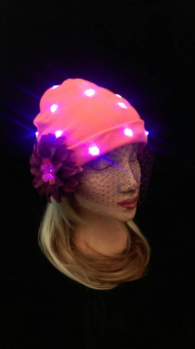 Light-Up Festival Beanie Hat in Orange and Purple