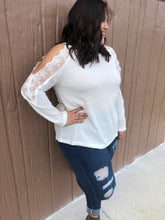 Load image into Gallery viewer, White lace waffle knit top
