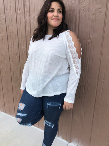 White lace waffle knit top
