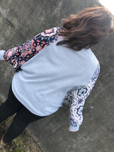 Heather grey contrast Top