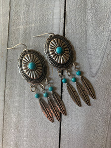 Turquoise Feather Drop Earring