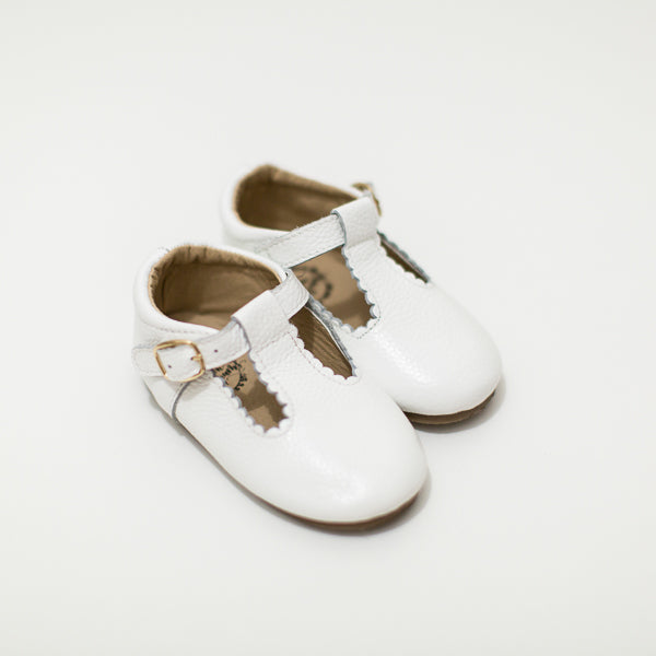 Leather T-bar shoes white