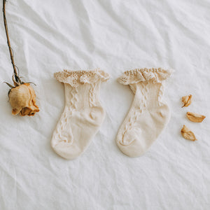 Lace-trim socks - Cream