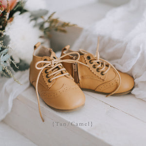 Vintage inspired tan kids boots with zip and laces