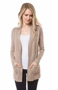 Open Knit Cardigan in Khaki