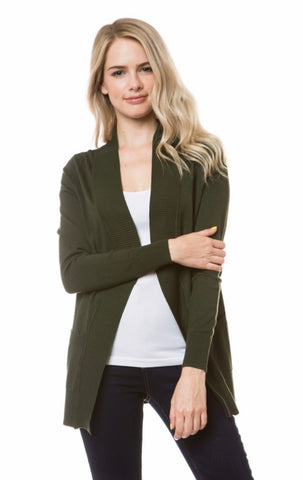 Open Knit Cardigan in Olive