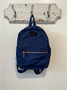 Mini Backpack in Navy with Gold Zippers