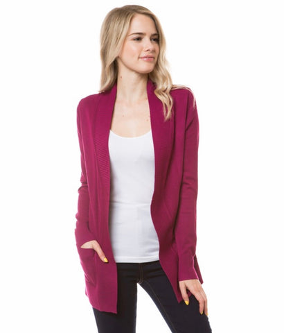 Open Knit Cardigan in Magenta