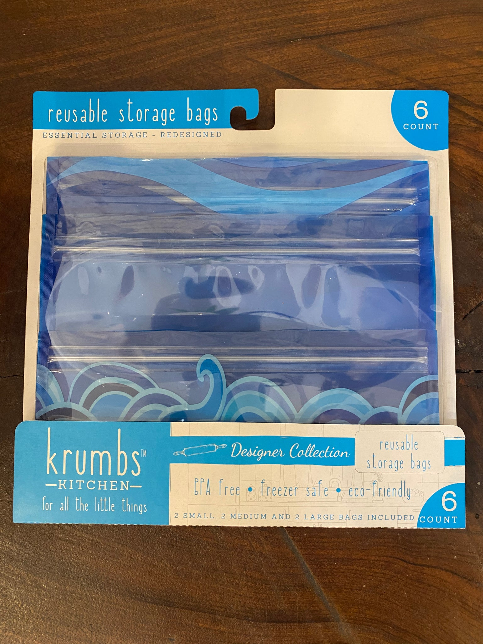 Reusable Storage Bag 3-Pack in Ocean Blue